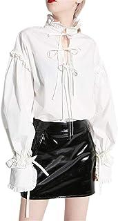 レディース チュニック シャツ ブラウス バルーン袖 白 フレア クラシック ゆったり フリーサイズ