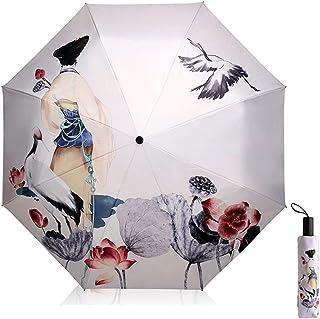 Solparaply UV-skydd för kvinnor kreativ 3D-tryckt parasoll trippel hopfällbara paraplyer 190T parasoller 8 ben damer