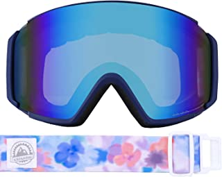 ICEPARDAL(アイスパーダル) スノーボード ゴーグル フレームレス レディース 平面ワイド 曇り止め ダブルレンズ 簡単脱着 日本企画品 UVカット 99% 全4色 IBP-892H