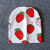 Primavera otoño algodón bebé Beanie Sombreros Estampado de Dibujos Animados recién Nacido Sombrero elástico niño Gorra Infantil para niñas niños Accesorios para Fotos-Strawberry-One Size