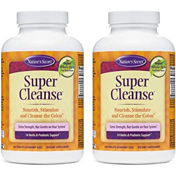 Nature's Secret Super Cleanse Extra Strength Toxin Detox & Gentle Elimination Body Cleanse, Digestive & Colon Health Support - Stimulating Blend of 14 Herbs with Probiotics - 200 Tablets (Pack of 2)