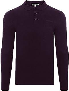 Lambretta Mens Knit Long Sleeve Cotton Casual Polo Shirt Tee Top