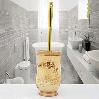 Y.HA_WC ファッショントイレトイレブラシソフトヘアハイグレードトイレブラシセットクリエイティブトイレブラシベース付き (色 : ゴールド)