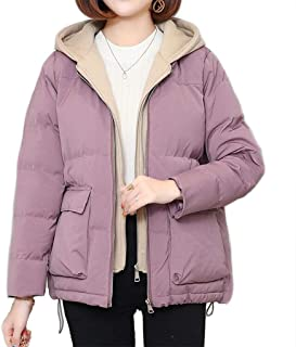 Women's Hooded Cotton Coat, Winter Thick Double-Layer Placket Zipper Jacket, Loose Casual Short Cotton Clothing, Windproof and Warm (Color : Purple, Size : XL)