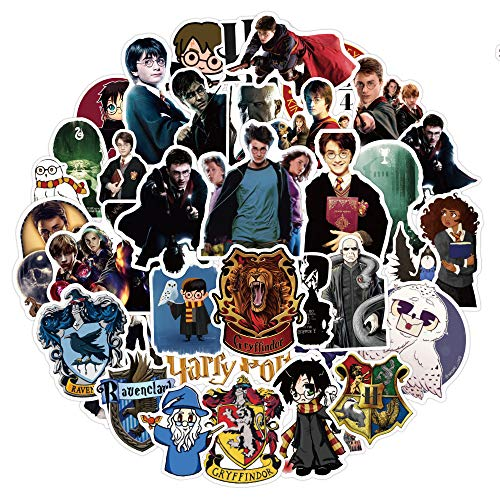 Laptop Stickers for Adults, NAVK Harry Potter Vinyl Stickers Pack 50 Pcs for Skateboard Car Water Bottle Phone, Cute Waterproof Aesthetic Stickers for Teens Boys Girls