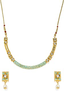 Zaveri Pearls Gold Tone Enamelling & Sleek Kundan Necklace Set for Women-ZPFK7946