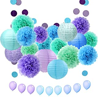 ZJHAI 34pcs Paper Flower Pom Pom and Paper Lantern, Mermaid Party Decorations, Polka Dot Paper Garland, Balloon for Party, Celebration, Nautical Themed Ball