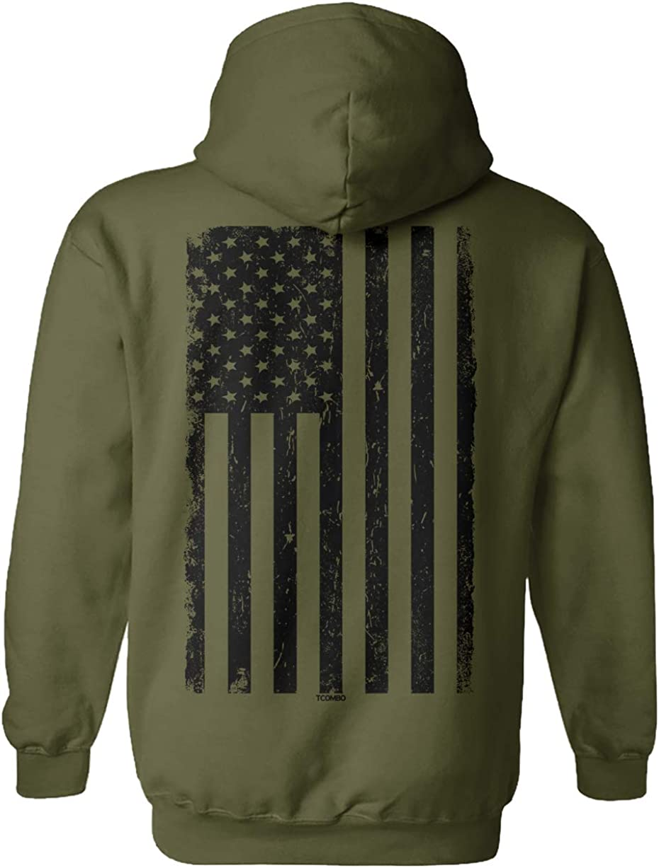 safety Distressed Black USA Flag - United Hoodie New Orleans Mall Unisex Sweatshi States