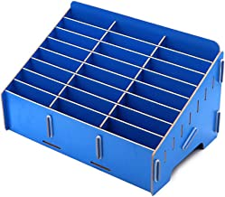 24 Grid Wooden Desktop Storage Box Mobile Phone Management Storage Box Creative Desktop Office Meeting Finishing Grid Multi Cell Phone Rack Display (Blue)