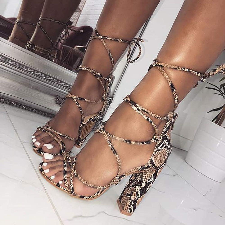 CTEJ Damen Hochhackige Sandalen Schuhe Sommer Fischmund Transparent Mit Schlangenmuster Schlangenmuster Spitze Hochhackige Sandalen,Apricot,35  genießen Sie Ihren Einkauf