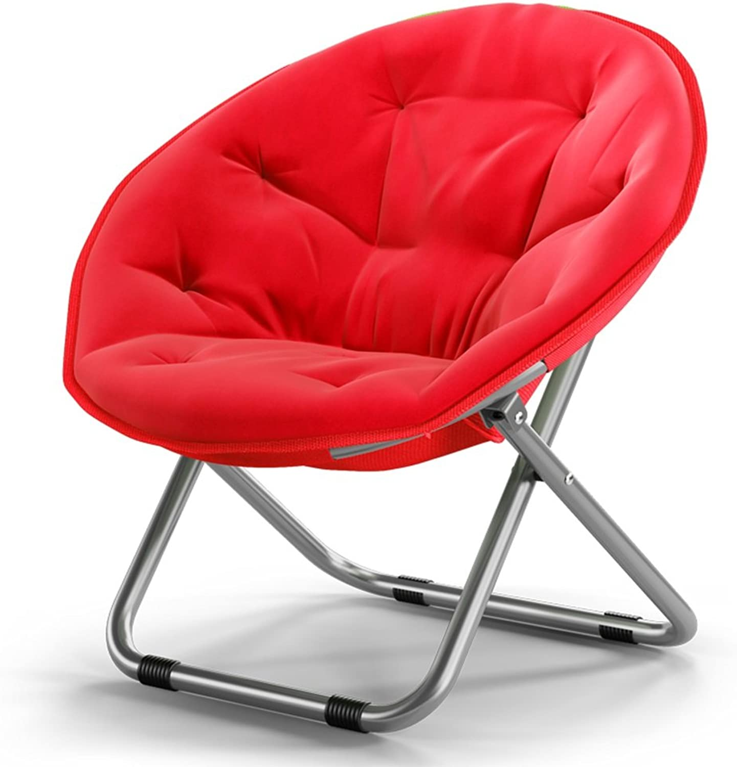 GSHWJS- trash can Adult Moon Chair Sun Chair Lazy Chair Recliner Folding Chair Round Chair Sofa Chair Folding Chair (color   Red)