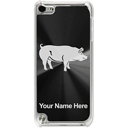 Case Compatible with iPod Touch 5th/6th/7th Generation, Pig, Personalized Engraving Included (Black)