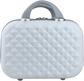 Genda 2Archer Small Cosmetic Suitcase Diamond Hard Shell Luggage Vanity Case 14Inch White