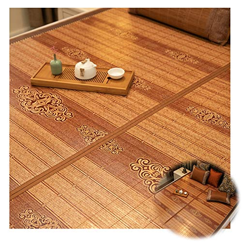 YJFENG Mat, Bamboo Mat 3 Piece Set Smooth And Burr-free Cool Down 2 Piece Set Terrace Bedroom Tea Room (Color : A-1 Brown, Size : 180x220cm)