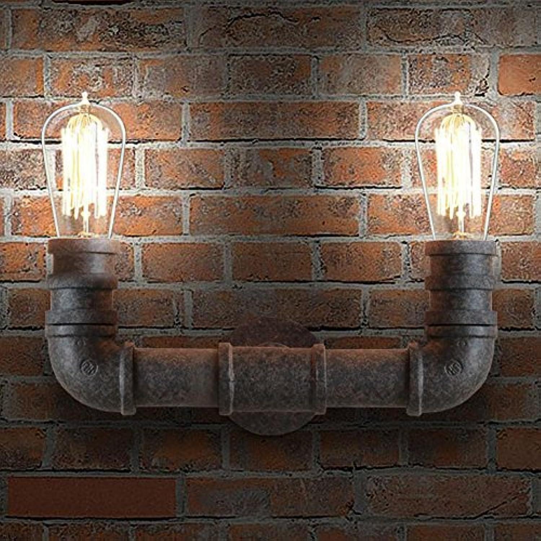 Hines Stahlrohr Doppel Metall Wandleuchte Vintage Edison Retro Steampunk Wasserpfeife Wand Beleuchtung Wandleuchte Verwendung 2 E27 Glühbirnen in Schwarz