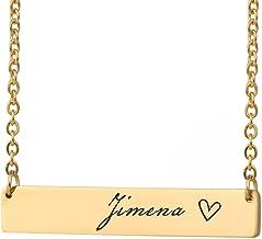 HUAN XUN Bar personalizado Nombre del collar Monograma Nombre inicial en la gargantilla Joyas personales Cumpleaños Regalo de San Valentín