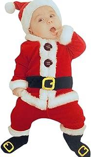 Ropa Navidad de bebé recién Nacido, Bebé Infantil Santa Navidad Tops + Pantalones + Gorro + Calcetines Conjunto Traje