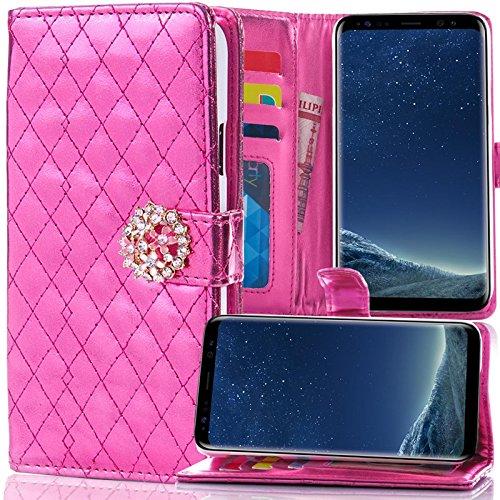 numerva HTC One M7 Hülle, Schutzhülle [Strass Case, Standfunktion, Kartenfach] PU Leder Tasche für HTC One M7 Handytasche Cover [Pink]