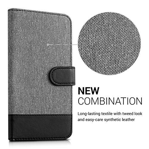 kwmobile Huawei GR3 / P8 Lite SMART Hülle - Kunstleder Wallet Case für Huawei GR3 / P8 Lite SMART mit Kartenfächern und Stand - Grau Schwarz - 2