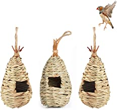 zoye 3 Pack Hummingbird Birdhouse for Outside Hanging,Bird House Bird Nest Hand Grass Bird HutFiber Hand-Woven Roosting Po...