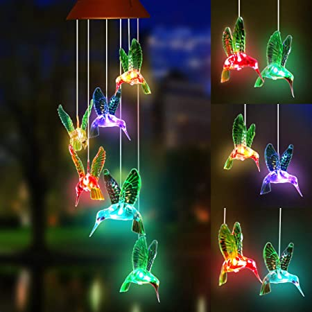 Solar Hummingbird Wind Chimes Pathonor Color Changing Solar Wind Chime Outdoor Waterproof Hummingbird Led Solar Lights Gifts For Mom Grandma Birthday Christmas Party Night Garden Hanging Decoration Garden