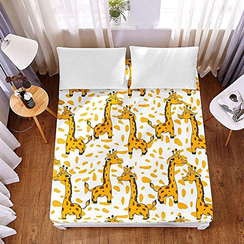 Bedclothes-Blanket Sábana de colchón Ajustada de Microfibra Protector de colchón Suave y Grueso Patrón de Animales 3D Sábana elástica para niños Resistente a Las Arrugas-El 120x200x30cm_3