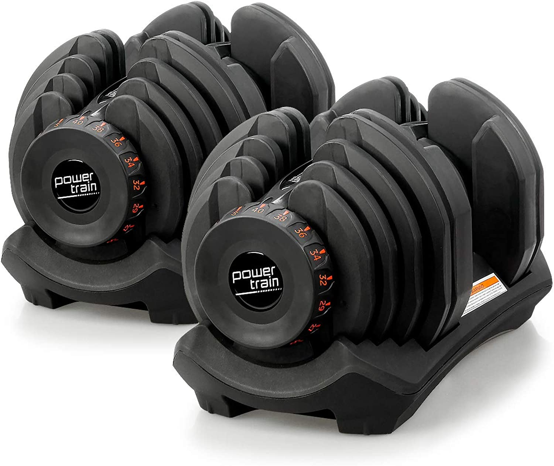 Pair Powertrain Adjustable Dumbbell Set  80kg total weight