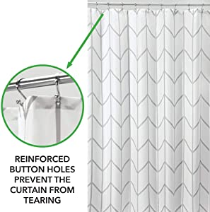 "mDesign Decorative Chevron Zig-Zag Print - Easy Care Fabric Shower Curtain with Reinforced Buttonholes, for Bathroom Showers, Stalls and Bathtubs, Machine Washable - 72"" x 72"" - Gray/White"