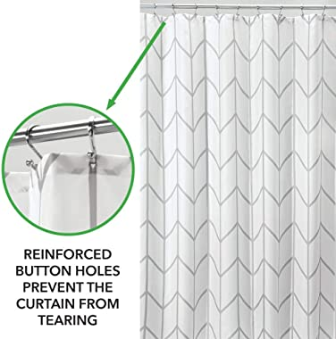mDesign Decorative Chevron Zig-Zag Print - Easy Care Fabric Hotel Quality Shower Curtain, Reinforced Buttonholes, for Bathroo