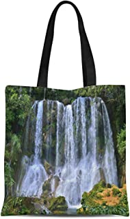Semtomn Canvas Tote Bag Waterfall in Lush Rainforest Beautiful Cascades El Nicho Scambray Durable Reusable Shopping Shoulder Grocery Bag