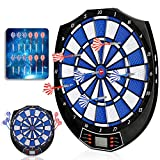 Amzdeal Dartboard Set Indoor Outdoor Dart Board Game Set 12 Darts, 50 Dart Tips, LCD Display, 18 Modes, 159 Ways of Playing Electronic Dartboard Family Party Leisure Sports Games Gifts