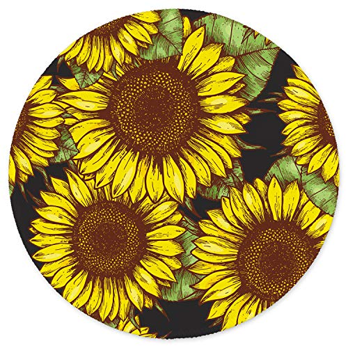ITNRSIIET [20% Larger] Mouse Pad with Stitched Edge Premium-Textured Mouse Mat Waterproof Non-Slip Rubber Base Round Mousepad for Laptop Computer PC Office 8.7×8.7×0.12 inches Sunflower