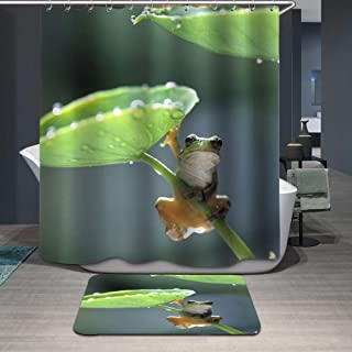 DiShang Fabric Shower Curtain,Frog Cute Green Polyester Waterproof Cloth, Print Decorative Bathroom Curtains Include Hooks Set (59〃w by 72〃L)