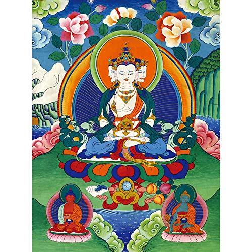 GuoQiang Zhou Tangka Residence Hall - Pintura tibetana para decoración de salón (40 x 54 cm), sin marco