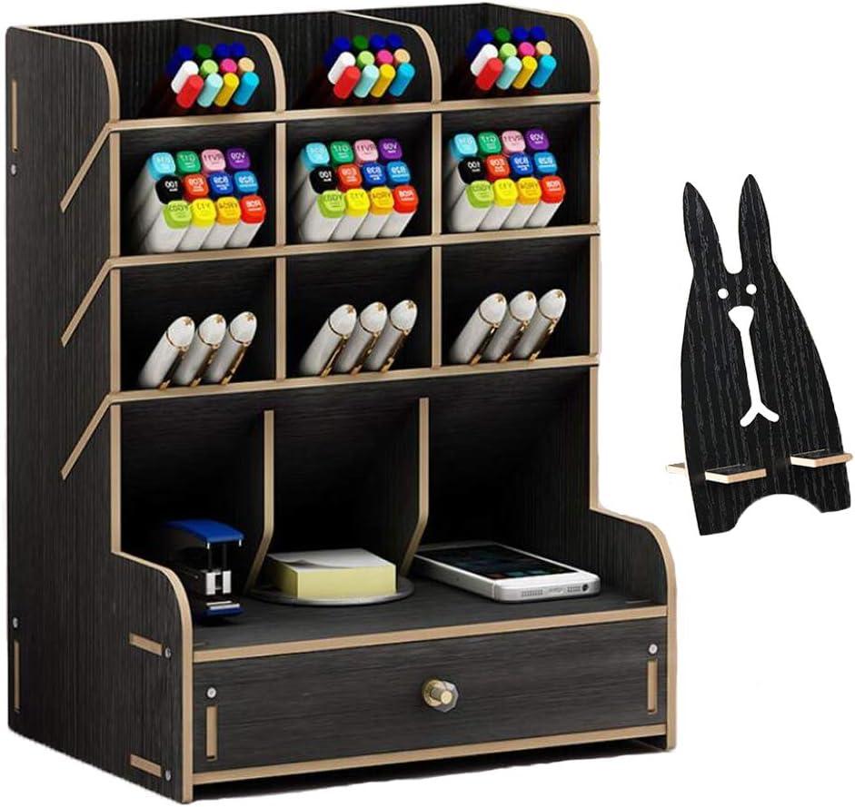 Marbrasse Ranking Award TOP7 Wooden Pen Organizer Multi-Functional Holder DIY