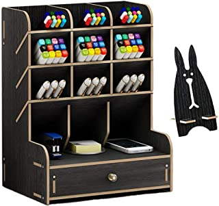 Marbrasse Wooden Desk Organizer, Multi-Functional DIY Pen Holder Box, Desktop Stationary, Home Office Supply Storage Rack with Drawer (B11-Black)