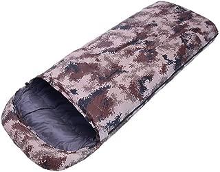 Asdfnfa Sleeping Bag, Adult Outdoor Thicken Keep Warm Indoor Camping Camouflage Portable Individual Travel by Walking Camping Bag Mummy Sleeping Bag (Color : Brown)