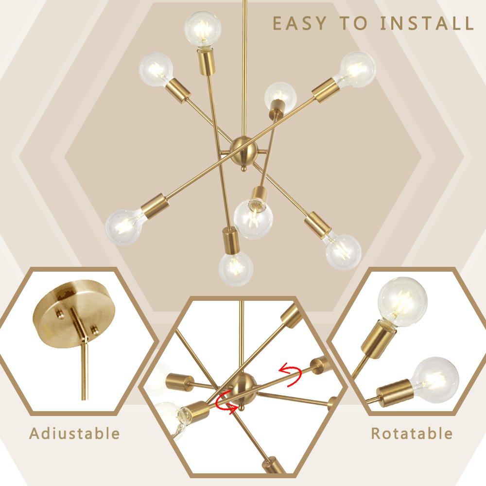 BONLICHT Modern 10 Light Sputnik Chandeliers Brushed Brass with Adjustable Arms Metal Kitchen Light Fixtures Gold Mid Century Pendant Lighting Vintage