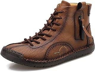 Govicta Premium Mens Ankle Boots ، أحذية رجالية عادية الرباط خياطة يدوية أحذية تنفس غير زلة في الهواء الطلق الحجم 6. 5-12