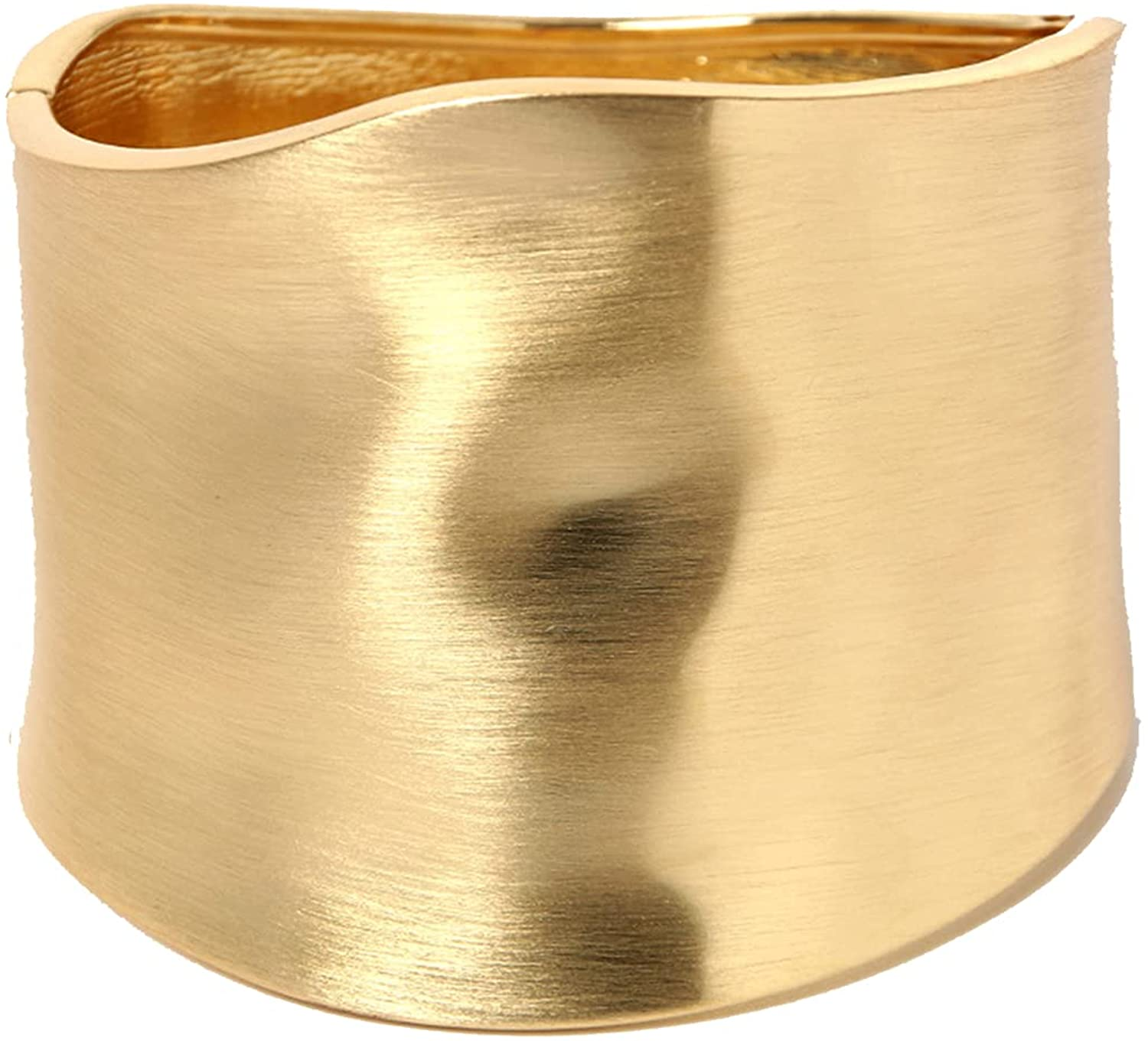 Bangles Bracelets for Women, 18K Gold Plating Chunky Polished-Finish Wrist Cuff Wrap Hinge Twist Bangle Opening Wide-Grooved Wire Statement Fashion Jewelry Bracelet for Women Teen Girl