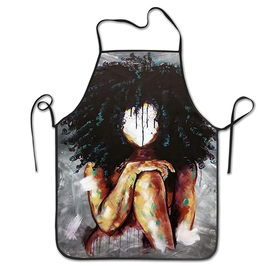 NiYoung Novelty Apron for Restaurant Home Kitchen - Water Drop Resistant - Women Waitress Apron with Comfortable Neck/Sides Straps - Painting Afro Lady African American Black Women Girls Art