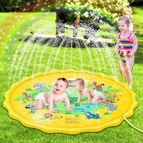 Sooair Splash Pad, 170 cm Sprinkler Play Mat, wasserspielmatte Baby Outdoor Spielzeug für Kinder und Haustiere, Wasserspielzeug spielmatte Kinder