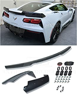 Extreme Online Store Replacement for 2014-2019 Chevrolet Corvette C7 All Models   Z06 Z07 Stage 2 Style Rear Trunk Lid Wing Spoiler (ABS Plastic - Primer Black)