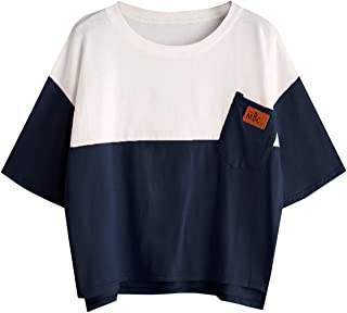 SweatyRocks Women's Colorblock Summer Short Sleeve Casual Loose T-Shirt Crop Top