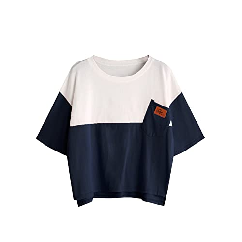 354267804e SweatyRocks Women's Colorblock Summer Short Sleeve Casual Loose T-Shirt  Crop Top