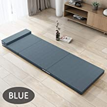 5cm Thick Tri-Folding Memory Foam Mattress Topper Blue Full Size Folding Mattress Play Mat Foldable Guest Bed Portable Bed...