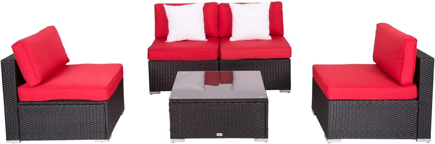 5 Pcs Outdoor Sectional Couch Sofa Set Porch Wicker Patio National Free shipping / New products Furnit
