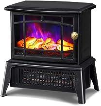 Carbón de leña Chimenea Calentador, realista llama efecto, Protección del sobrecalentamiento, Estufa tradicional Diseño 1500W (negro)