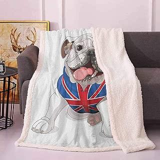 English Bulldog Faux Fur Blanket Happy Dog Wearing a Union Jack Vest Cartoon Style Animal Design Blanket Cover Cream Navy Blue Red 60