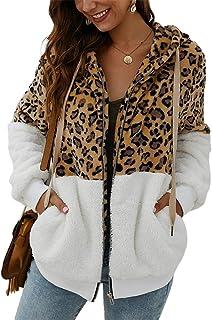 Bianco con Cappuccio e Cuciture Leopardate iSunday Giacca Invernale da Donna Small
